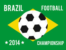 Brazil map in the colors of the flag. With soccer ball and text of Brazil football championship 2014 Vector Illustration