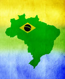 Brazil map and colors of the flag Stock Images