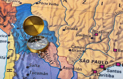 Brazil map and compass. Travel background stock images