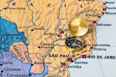 Brazil map and compass. Travel background stock photography