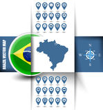 Brazil map contour with GPS icons Stock Image