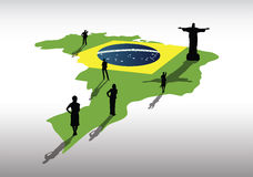 Brazil map on country outline with business people Royalty Free Stock Photo
