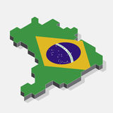 Brazil map element with 3D isometric shape isolated on backgroun. D, vector illustration Royalty Free Stock Photos