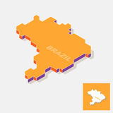 Brazil map element with 3D isometric shape isolated on background Royalty Free Stock Photo