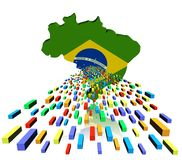 Brazil map flag with containers Stock Image