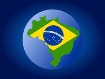 Brazil map flag on globe Stock Photo
