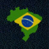 Brazil map flag on hex code illustration. Retro 8 bit pixellated Brazil map flag on hex code illustration Stock Photography