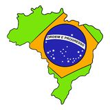 Brazil map and flag icon cartoon Royalty Free Stock Images