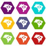 Brazil map with flag icon set color hexahedron Stock Image