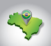Brazil map and flag illustration design Stock Photos