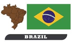 Brazil Map and Flag stock illustration