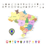 Brazil map with flag and navigation icons Royalty Free Stock Photography