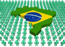 Brazil map flag with people Stock Photo