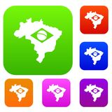Brazil map with flag set color collection Royalty Free Stock Photography