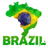 Brazil map flag Stock Photography