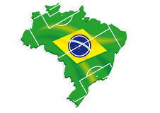 Brazil map flag soccer. Field Stock Photos