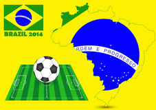 Brazil 2014 with Map, Flag. Brazil 2014 with Map, Flag, Soccer field and Soccerball, Vector Illustration EPS 10 Stock Photos