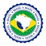 Brazil map and flag in vintage rubber stamp of. Royalty Free Stock Image