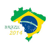 Brazil map flag. With word brazil 2014 Royalty Free Stock Photos