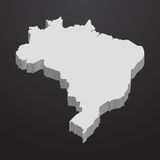 Brazil map in gray on a black background 3d. Brazil  map in gray on a black background 3d Stock Image