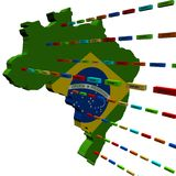 Brazil map with lines of containers Royalty Free Stock Images