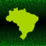 Brazil map over binary code Stock Photos