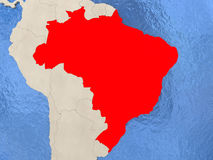Brazil on map. Brazil in red on political map with watery oceans. 3D illustration Stock Photography