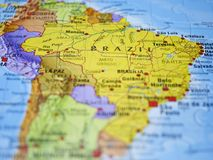 Brazil on the map. The representation of Brazil on the map with focus on the name of the country royalty free stock photo