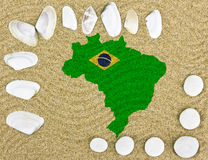 Brazil map in the sand Royalty Free Stock Image