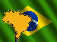 Brazil map sign with flag Stock Images