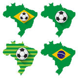 Brazil map with soccer ball Royalty Free Stock Photo
