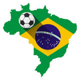 Brazil map with soccer ball Stock Image