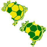 Brazil map with soccer balls Stock Images