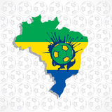 Brazil map with soccer Stock Photos