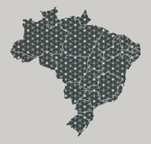 Brazil map with stars and ornaments including borders. Illustration Royalty Free Stock Images