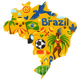 Brazil map with stylized objects and cultural Royalty Free Stock Photography