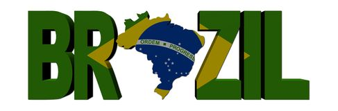 Brazil map text with flag Royalty Free Stock Image
