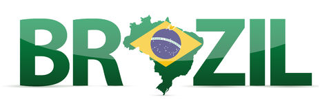 Brazil map text with flag illustration Stock Image