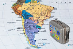 Brazil map and travel case with stickers (my photos). Brazil map and case with stickers (my photos) - travel background royalty free stock photos
