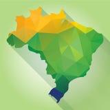 Brazil Map. Triangle texture Brazil map, vector geometric concept stock illustration