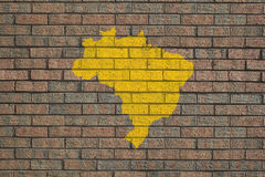 Brazil map on wall Royalty Free Stock Photography