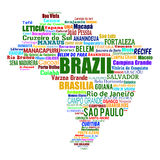 Brazil map and words with larger cities. Brazil map and words cloud with larger cities on white, vector illustration Stock Image