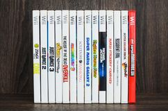 Various Wii games for Nintendo Wii. Wii games discs. stock photos