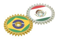 Brazil and Mexico flags on a gears, 3D rendering Stock Photo