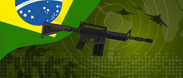 Brazil military power army defense industry war and fight country national celebration with gun soldier jet fighter and Stock Photos