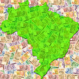 Brazil Money Map. An outline of the map of Brazil with Brazilian Reais (currency vector illustration