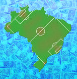 Brazil Money Map (Soccer). An outline of the map of Brazil with Brazilian Reais (currency) outside and a soccer field inside vector illustration