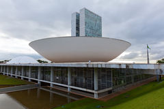 Brazil National Congress with flag in the background in Brasilia Royalty Free Stock Photos