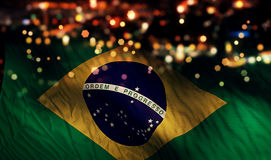 Brazil National Flag Light Night Bokeh Abstract Background Stock Photography