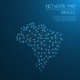 Brazil network map. Abstract polygonal map design. Internet connections vector illustration Stock Image